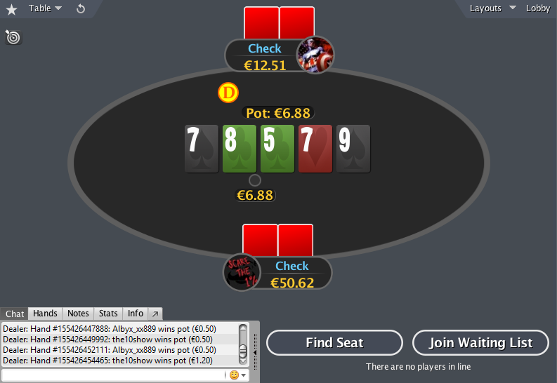 PokerStars mod HU table