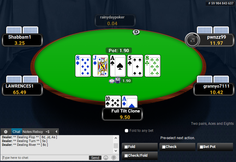 Full Tilt Clone for PartyPoker Pre-action buttons
