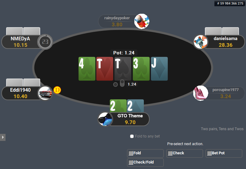 GTO Theme for PartyPoker Pre-action Buttons