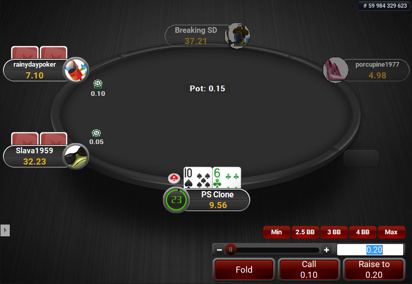PokerStars Clone for PartyPoker Action Buttons
