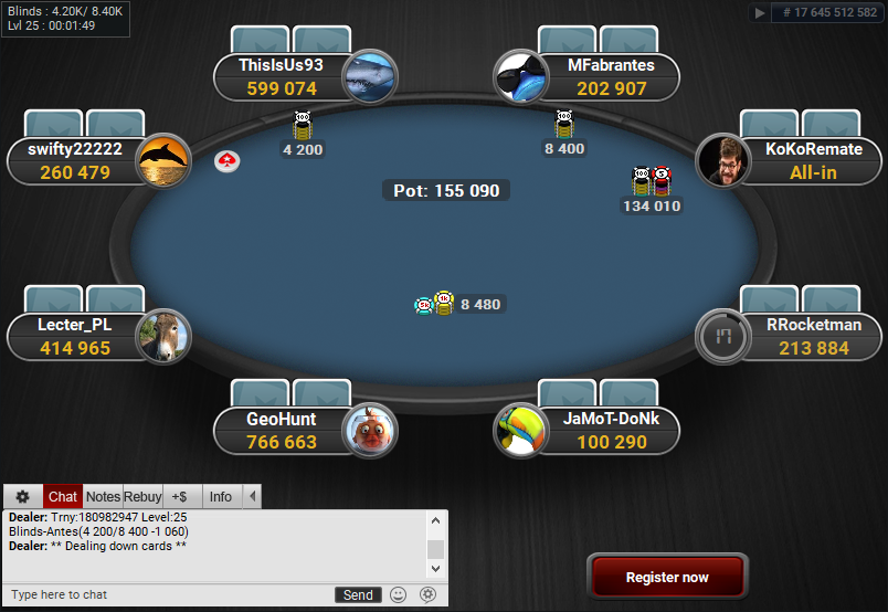 PokerStars Clone for PartyPoker Blue Table MTT