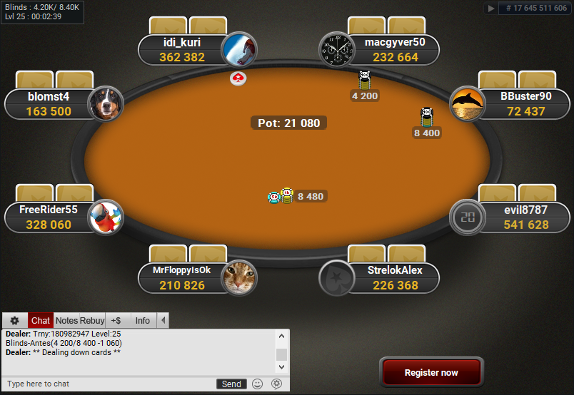 PokerStars Clone for PartyPoker Orange Table MTT