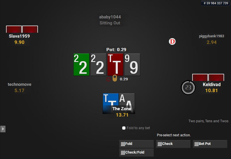 The Zone for PartyPoker Pre-action Buttons