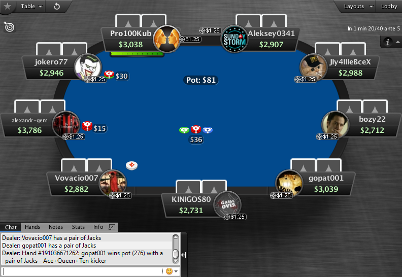 PartyPoker Clone for PokerStars MTT Table Blue