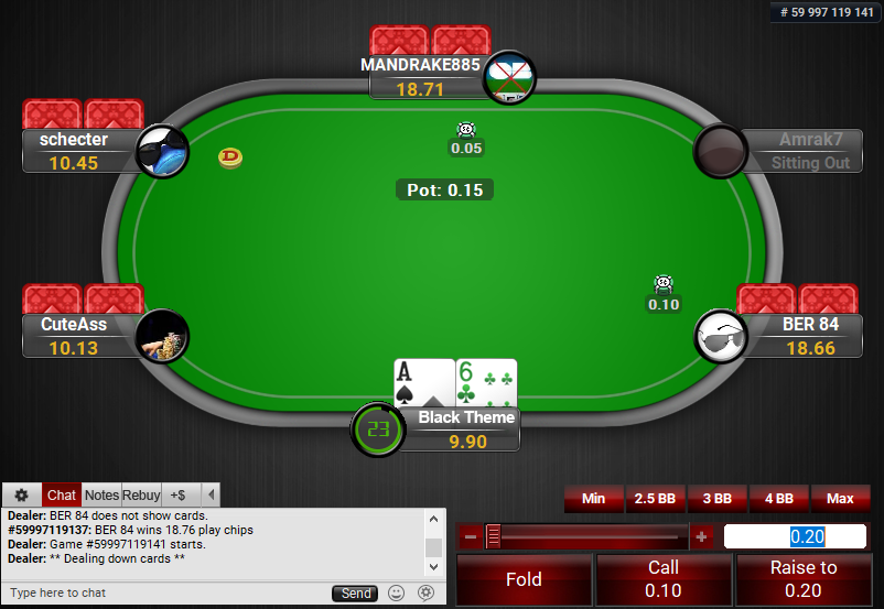 01 PartyPoker Table Theme Black Action Buttons
