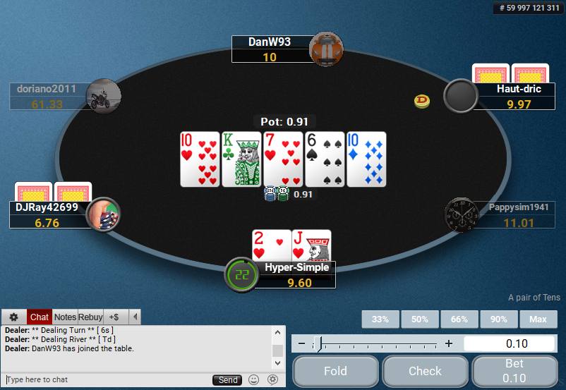 01 PartyPoker Table Theme Hyper-Simple Action Buttons
