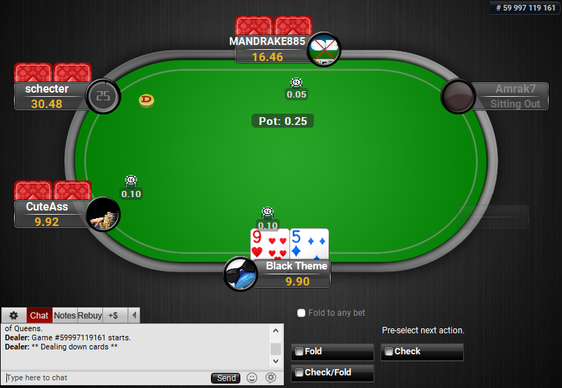 02 PartyPoker Table Theme Black Pre-action Buttons