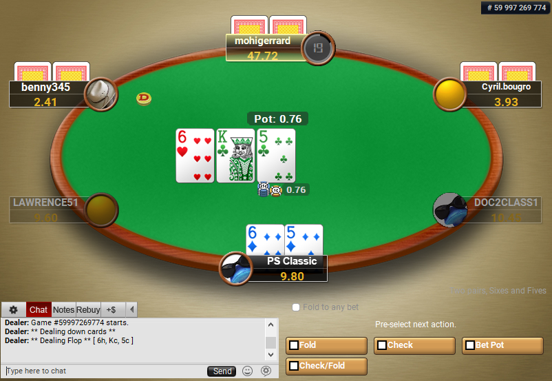 02 PartyPoker Table Theme Classic Pre-action buttons
