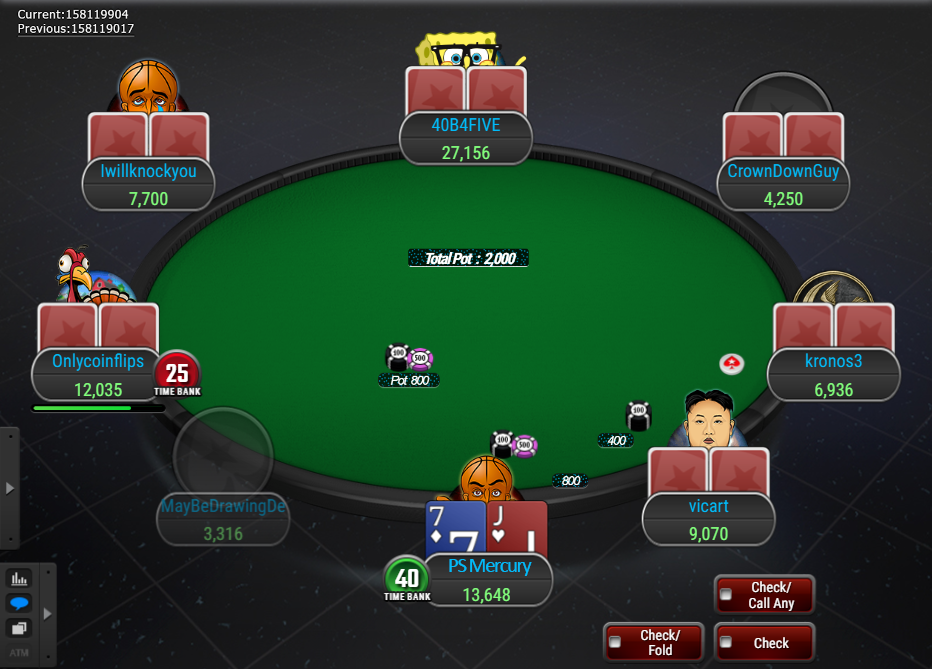 PokerStars Clone Mercury for WPN Pre-Action Buttons